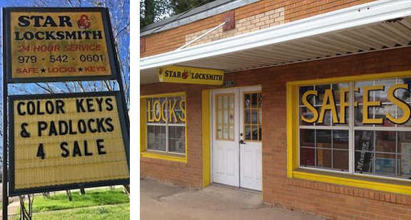 Image of Star Locksmith's sign and shop